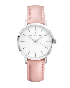 Classic Stainless steel ladies watch with genuine pink leather strap