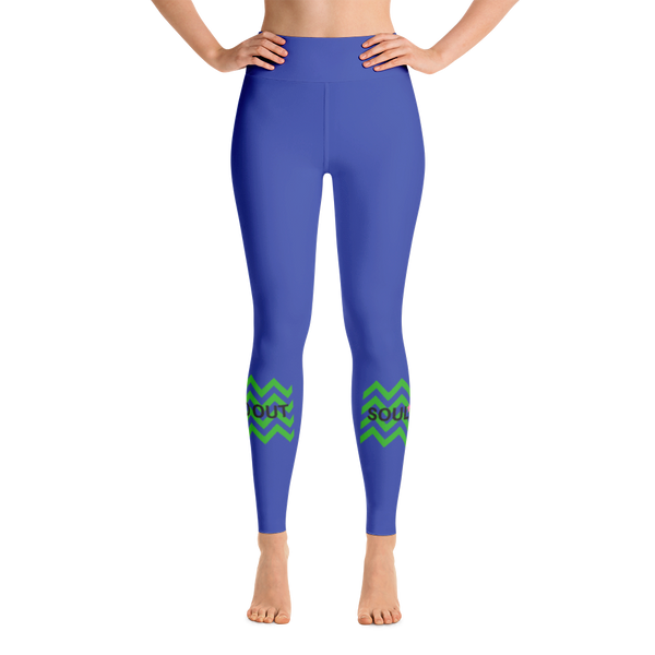 Blue Chevron Yoga Leggings