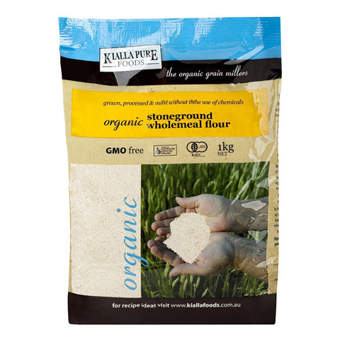 Kialla Organic Stoneground Wholegrain Plain Flour 1kg - Box of 6