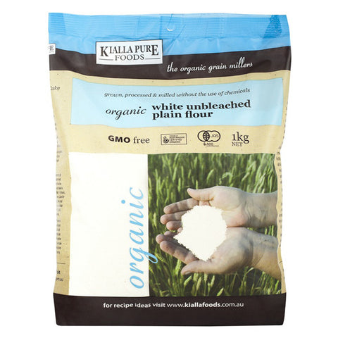 Kialla Organic Unbleached Plain White Flour 1kg - Box of 6