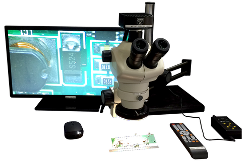 50X Dual Arm Bearing Boom Stand LED Microscope w/ HDMI comes with a pair of 10X eyepiece, a Quad High Powered LED Light, and a 1X objective lens unit 16