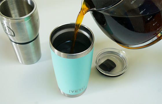 Pouring coffee into YETI mug