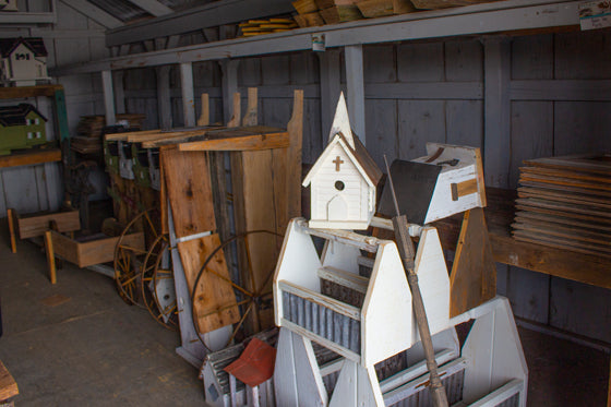 Birdhouses in a shed