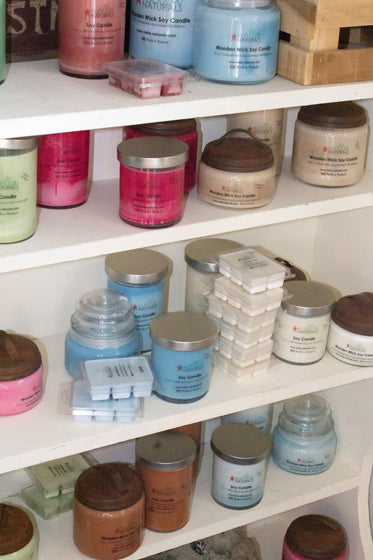 Candles and wax melts on shelves