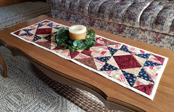 Quilted table runner on coffee table