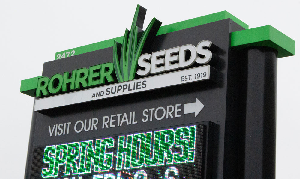 Rohrer Seeds sign