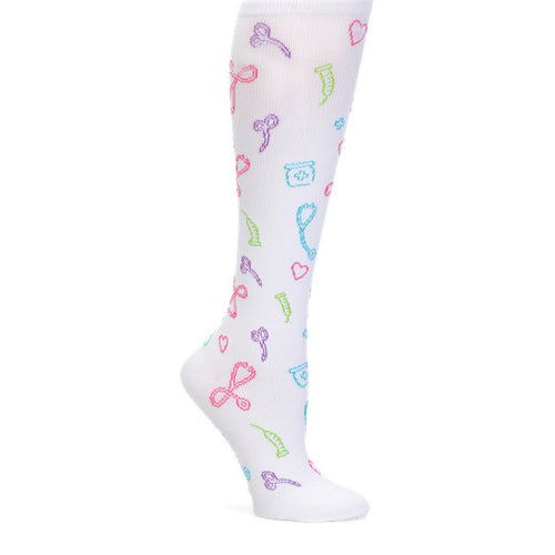 White Compression socks with medical symbols.