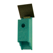 Teal Polycraft Birdhouse with lid open.