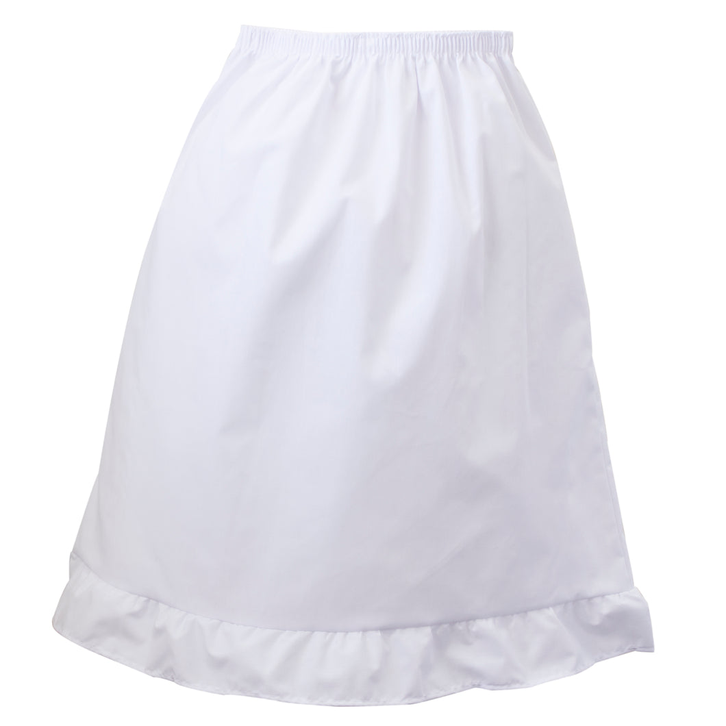 Girls ruffled poly cotton half-slip.