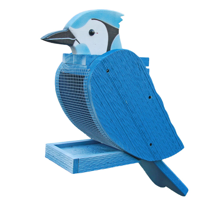 Large bird feeder shaped to look like a blue jay.