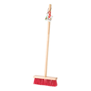 child's red push broom