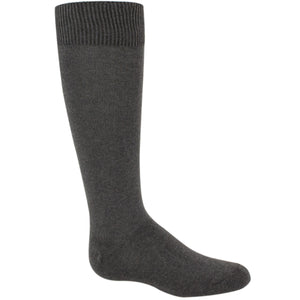 Charcoal gray girls knee high socks.