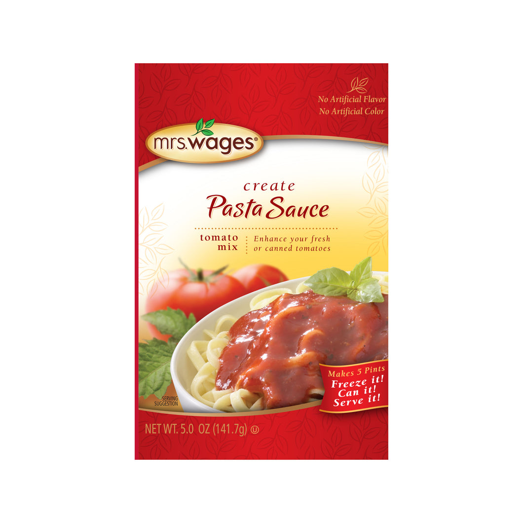 Pack of Mrs. Wages pasta sauce mix.