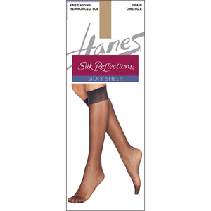 Hanes Knee High nylons Silk Reflections Reinforced toe Little Color.