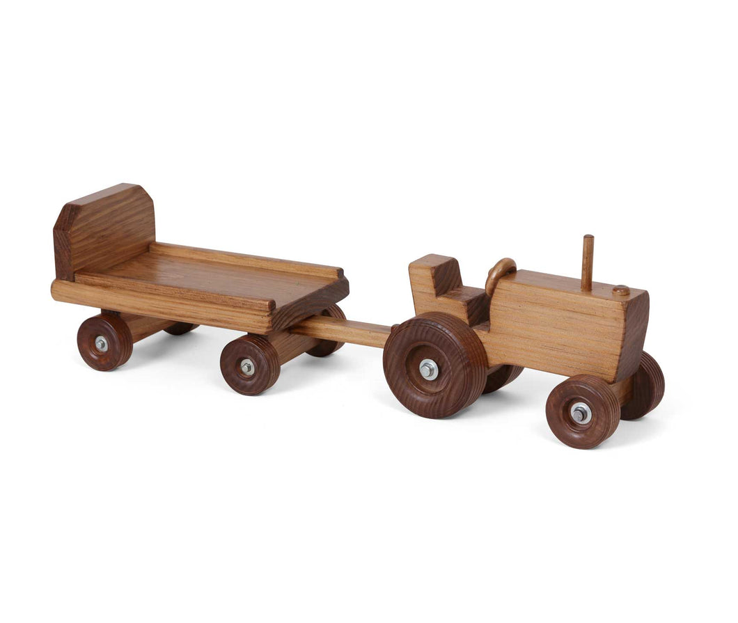 Lapp's Toys wooden tractor and wagon.
