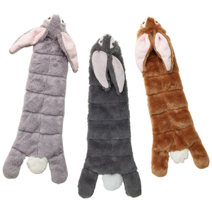Skinnneez plush rabbit dog toys.