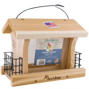 Audubon Wooden Bird Feeder with suet cake cages.