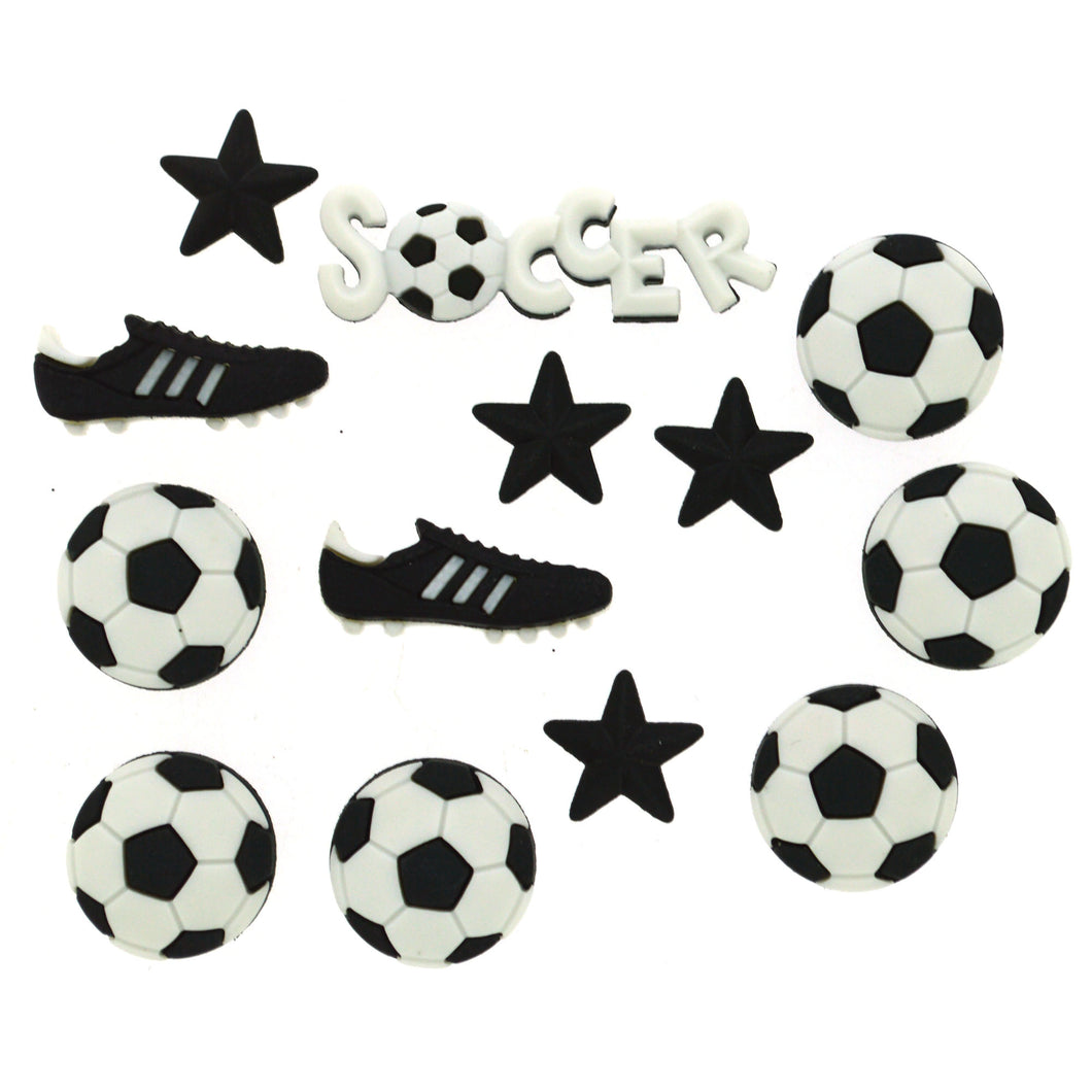 Assorted soccer theme buttons