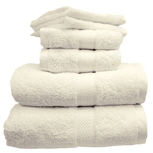 Ivory bath towels, hand towels, and washcloths.