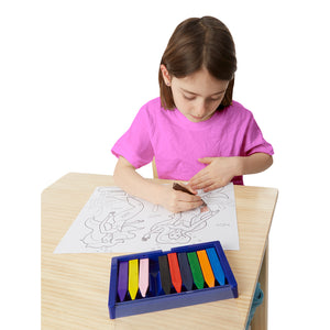Girl using jumbo crayons