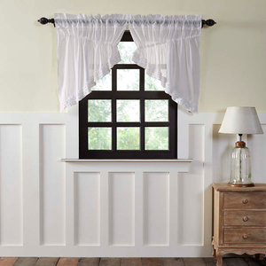 Curtains white ruffled prairie swag curtians.