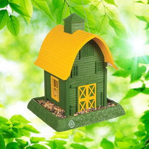 Green Barn Bird Feeder Outdoors