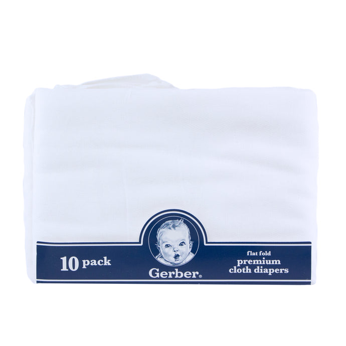 10-pack of Gerber Premium Flat Fold Cloth diapers.