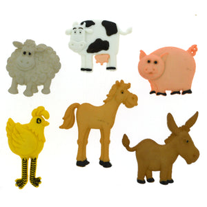 Funny farm animals buttons