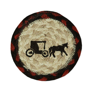 Amish buggy Braided Jute Coaster.