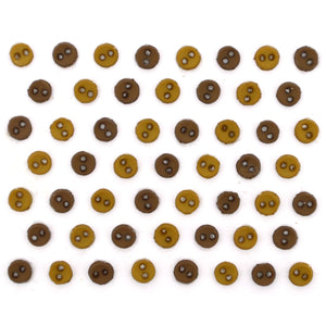 Mini round brown buttons.