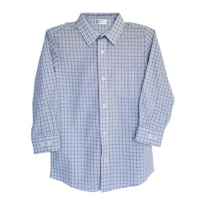 Boy's White and Blue Plaid Dress Shirt 20202811