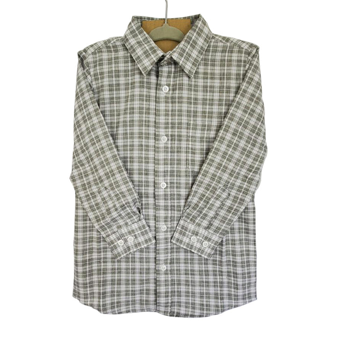 Boy's Olive Plaid Dress Shirt 20202803