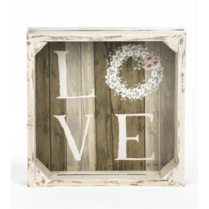 Love Wooden Wreath Sign 211-30108