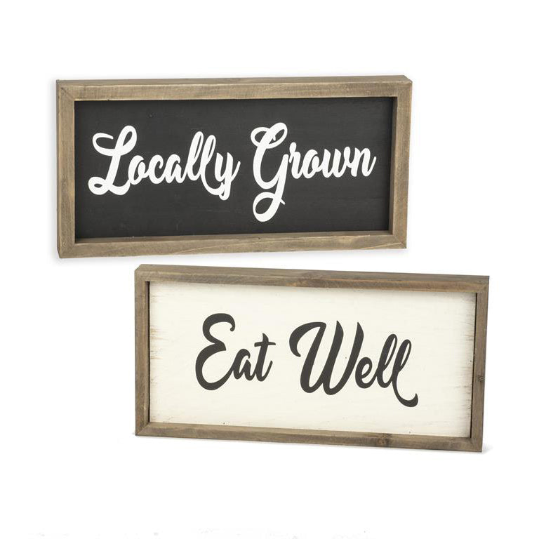 Locally Grown/Eat Well Double Sided Wooden Plaque 211-60407