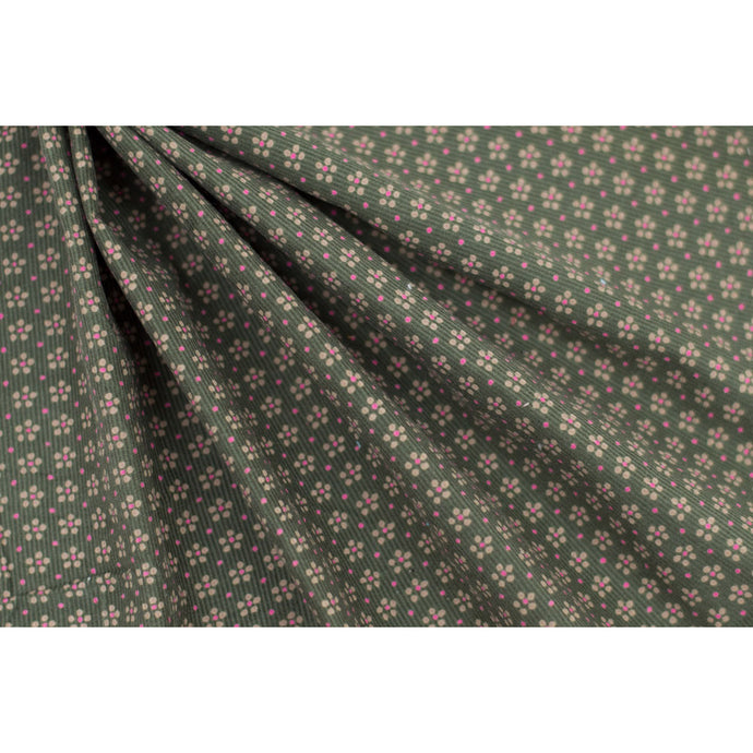 Cotton Corduroy Olive Floral Fabric 22-10800