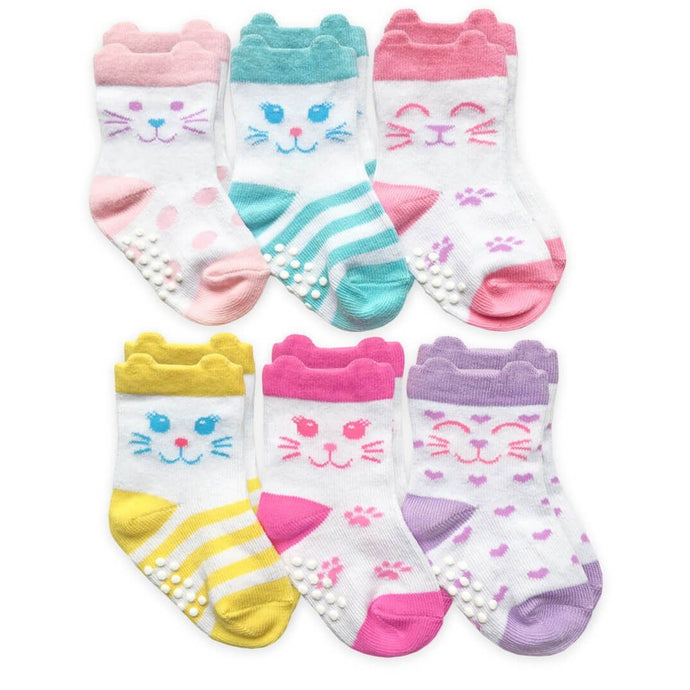 Girls Cat Face Crew Socks 6 Pack