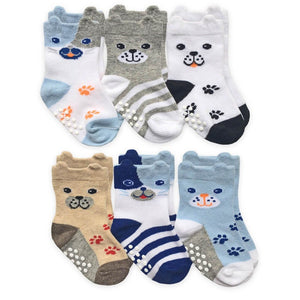 Boys Dog Face Crew Socks 6 Pack 2360