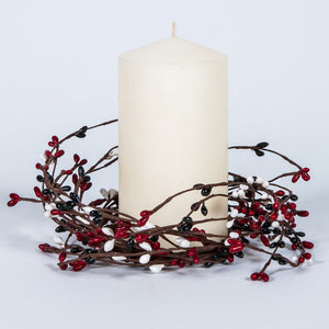 Red, Hunter Green, & White Berry Candle Ring.
