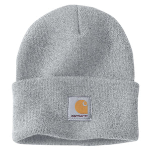 Heather Gray Carhartt beanie with Carhartt label stitched on front