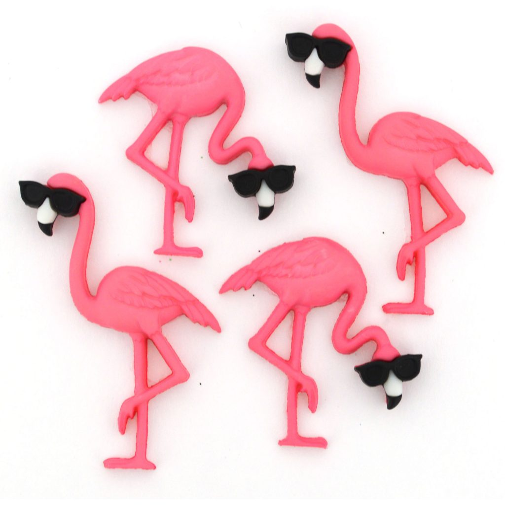 Pink flamingo buttons