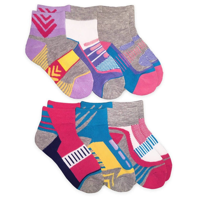 Girls Performance Sport Quarter Socks 6 Pack 2869