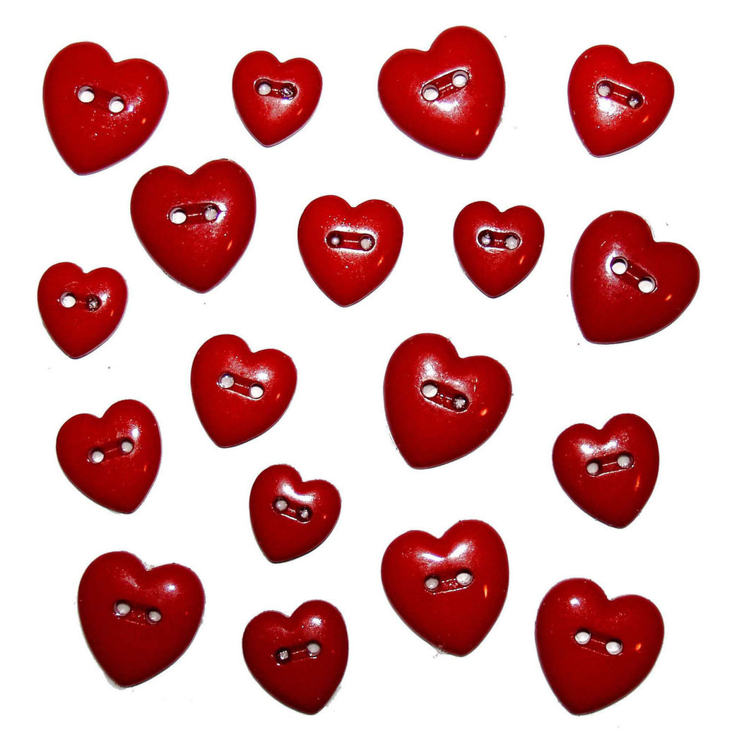 Red Hearts buttons in assorted sizes.