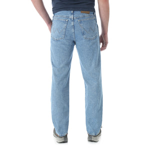 Back view of Wrangler stonewashed jeans.