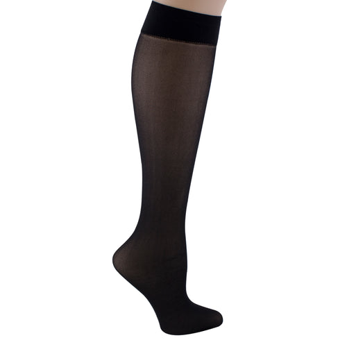 Women's Black knee-high support socks.