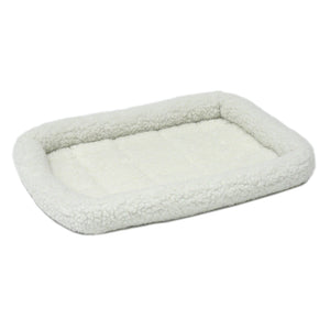 Cream-colored fleece Quiet Time pet bed.