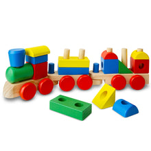 Melissa & Doug toys stacking train with blocks.