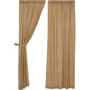 Panel curtains with ties.