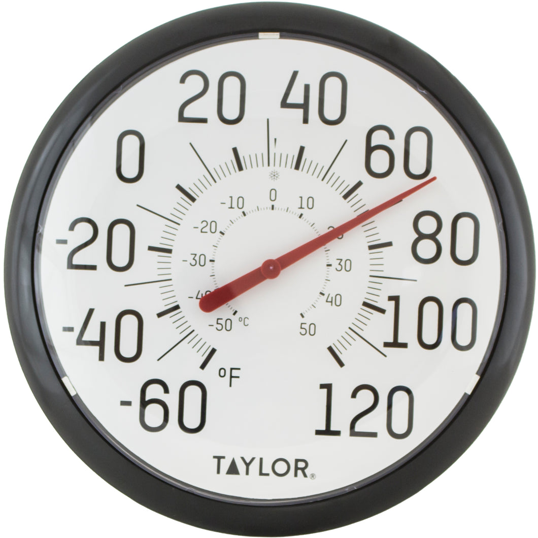 Taylor outdoor thermomter, easy read, black numbers on white face.
