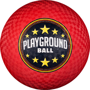 Red rubber playground ball.