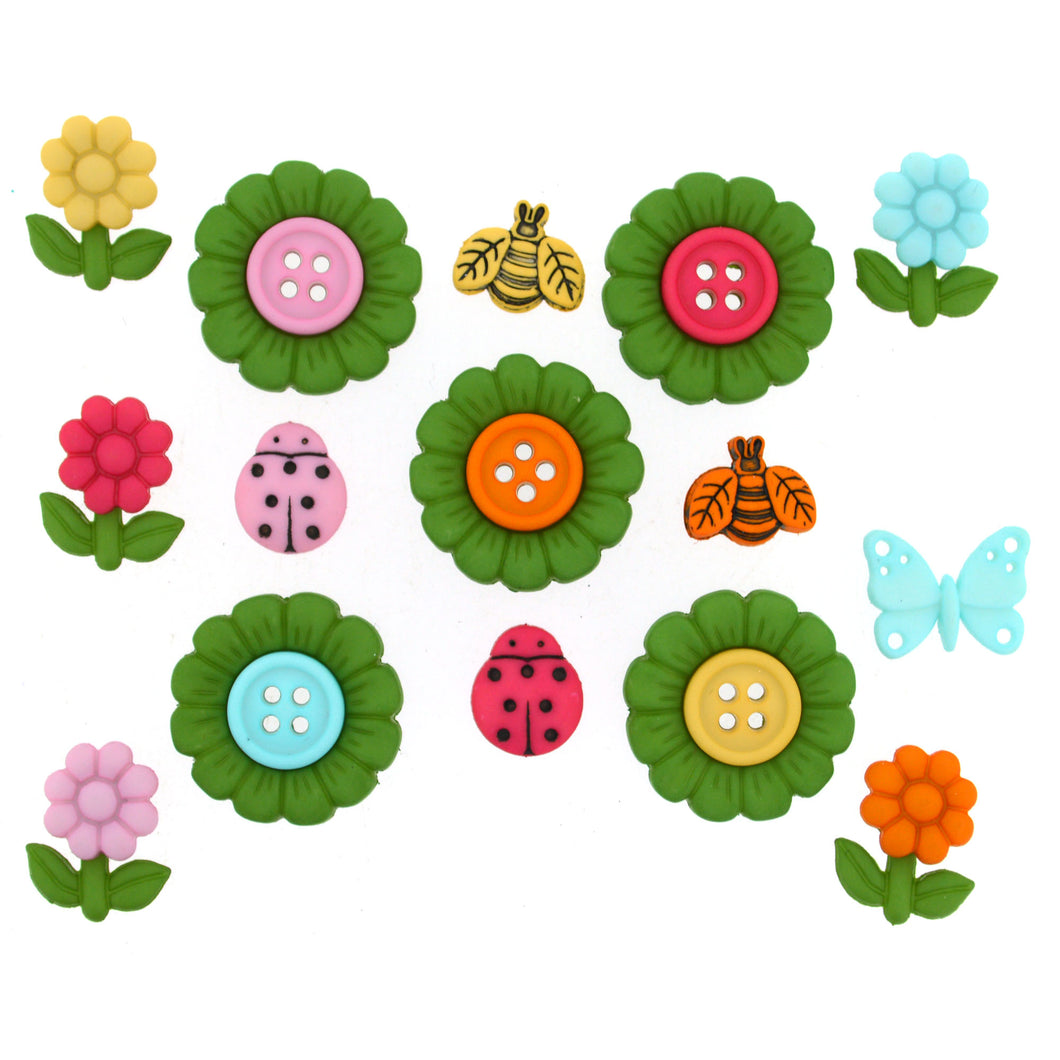Flower and bug buttons.